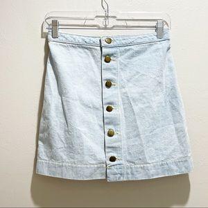 AMERICAN APPAREL Light Wash Denim A-Line Skirt